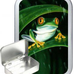 Frog Rain Hinged Tin, Pocket Tin, Pill Tin, Sewing Tin, Storage Tin, 50ml Tin