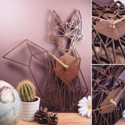 Fox Clock - Geometric Wooden Fox Clock - Full Fox. Perfect for fox lovers. Ideal gift for fox obsessives. Fox your friends with this gift.
