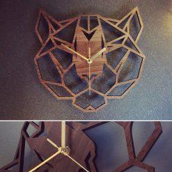 Geometric Big Cat Panther Head Clock Wooden Geometric Big Cat Clock - Panther Clock. Perfect for Big Cat Panther lovers. Big Cat obsessives.