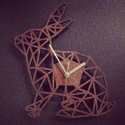 Rabbit Clock. Geometric Wooden Rabbit Clock. Rabbit. Perfect for Rabbit lovers. Ideal gift for Rabbit obsessives. Rabbit carers.