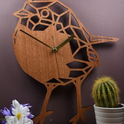 Robin Clock. Geometric Wooden Robin Clock. Robin Redbreast. Perfect for Robin lovers. Ideal gift for Robin obsessives. Robin carers.