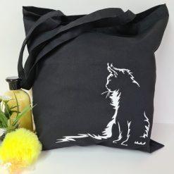 Cat, Kitten, Kitty Cat Tote Bag ,Gift Bag,Shopping Bag, Cotton Tote (Can Be Personalised) Black Bag ,Long Handles