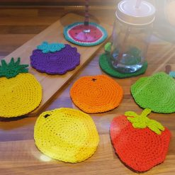 Fruit coasters, crocheted by hand. Perfect gift. Party decoration, birthday gift.
