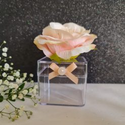 Round glass Favour Jar Peach with leaves