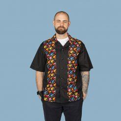 Guitar themed men's casual panel shirt (black)