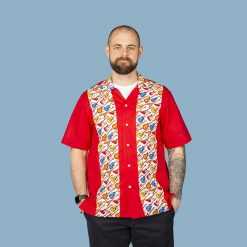 Guitar themed men's casual panel shirt (red)