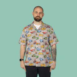 Custom cars, hot rods, USA automobiles men's casual shirt (grey)