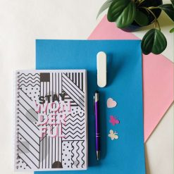 The Stay Wonderful Daily Planner. A5, 180 pages. Undated. Original designs. 100% recyclable. With messages designed to boost mood & positivity.
