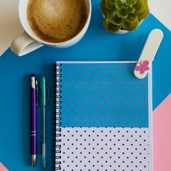 The Polka Dot Daily Planner. A5, 180 pages. Undated. Original designs. 100% recyclable. With messages designed to boost mood & positivity.