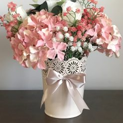 Hydrangea and white roses floral arrangement