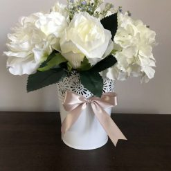 White hydrangea, peony and roses floral arrangement