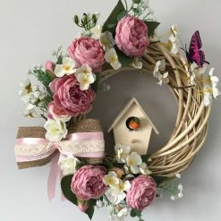Wicker Summer Wreath with Pink Peonies and Bird House