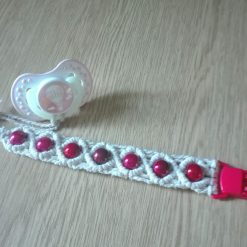 Macrame dummy string, baby pacifier chain, macrame soother holder with colourful beads (free p&p)