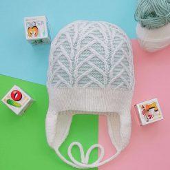 Handmade baby knitted hat, 100% merino wool yarn, green/white colour, size 50-52 cm, 6-12 months