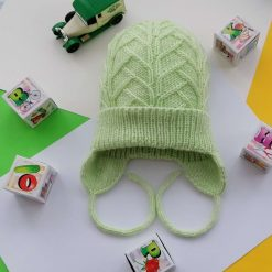 Handmade knitted hat, 100% merino wool yarn, purple colour, size 57-60 cm