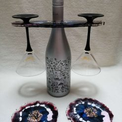 Resin Bottle Glass Holder - Matching Coasters - Colours Customisable