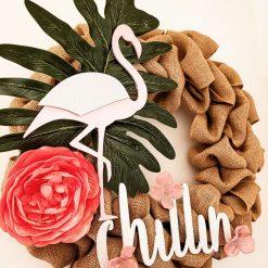 Burlap wreath/ summer decor / home decor wreath/ summer wreath/ round wreath/ pink flowers wreath/ bright wreath/ flamingo decor
