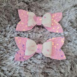 Girls Pretty Pink Glitter Hair Bow Clip