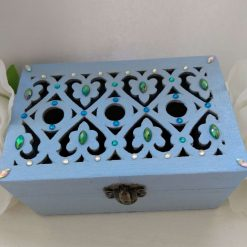 Pale blue crystal embellished small wooden jewellery or trinket box