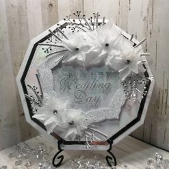 Luxury Handmade Wedding Card - Silver and White Decagon shaped - with acetate centre