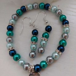 Glass Pearl blue, green and silver Stretch Bracelet with matching Earrings (Bee Charm)