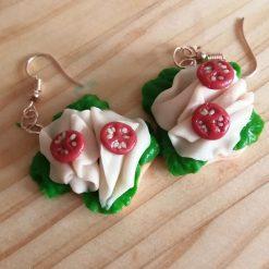 Open ham sandwich drop earrings