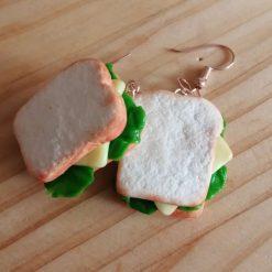 Cheese salad sandwich drop earrings