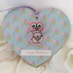 Decoupaged 'Happy Birthday' balloon wooden heart hanging decoration with owl