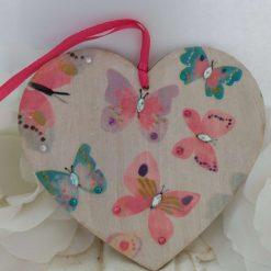 Decoupaged butterflies wooden heart hanging decoration