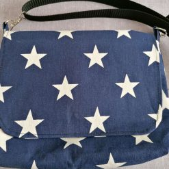 Messenger Bag in Navy Denim and White Stars