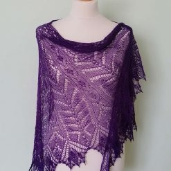 Handmade knitted lace crescent shape shawl with beads, purple colour merino wool yarn