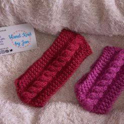 Children's hand knitted gathered bow headband/earwarmer