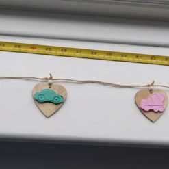 Pastel vehicles wooden hearts and clay bunting