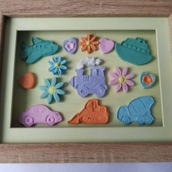 pastel coloured vehicles, floral framed picture
