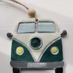 Campervan clay tag-green