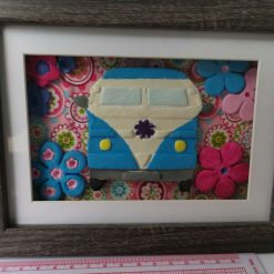 Blue campervan floral framed picture