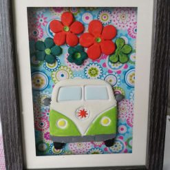 Lime green campervan floral framed picture