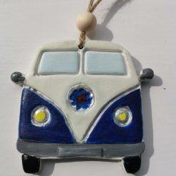 Campervan clay tag-blue