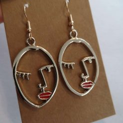 *NEW* Gold Tone Abstract Face Earrings