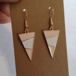 *NEW* Gold Tone Enamel Triangle Earrings Pink/White