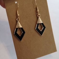 *NEW* Gold Tone Enamel Black and Gold Triangle Earrings