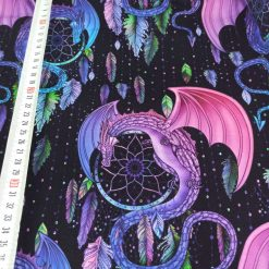 Dragon, Dream Catcher, Colourful, Girl, French Terry, 4 Way Stretch