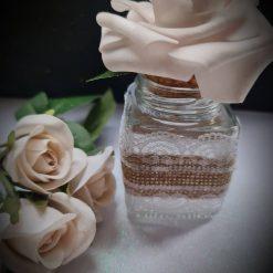 Square glass Favour Jar Vintage Ivory