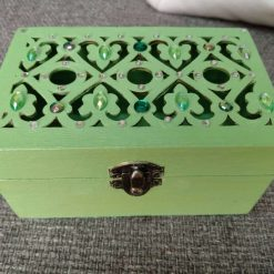 Pale green crystal embellished small wooden jewellery or trinket box