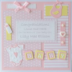 Personalised New Baby Card Baby Girl