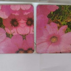 Decoupaged Wooden Pink/Red Poppy Coasters Set of 2