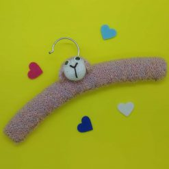 Animal children's coat hangers, hand knitted rabbit in blue