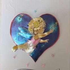 Decoupaged Foiled Fairy 'Happy Birthday' Greeting Card