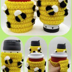 Crochet bee-hive with buzzybees mug snug
