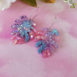 Pastel Pink, Purple and Blue Monstera Leaf Hoop Earrings
